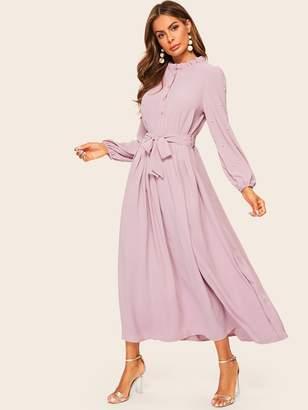 Shein Pearls Trim Belted Button Half Placket Dress