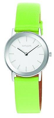 Am.pm. Am : Pmレディースpd131-l141スチールケースグリーンレザーストラップクォーツ腕時計