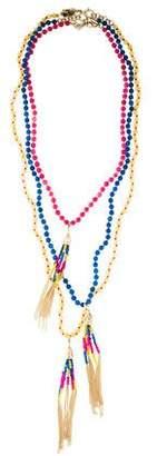 Rosantica Set of Three Dyed Quartzite Beaded Tassel Necklace