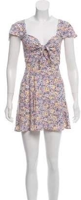 Reformation Knot Detail Floral Dress