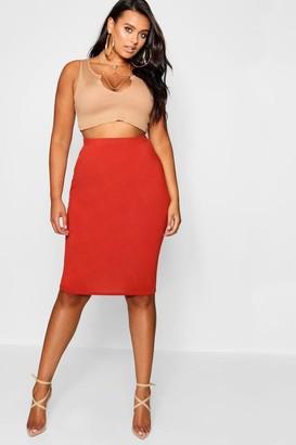boohoo Plus Midi Tube Skirt