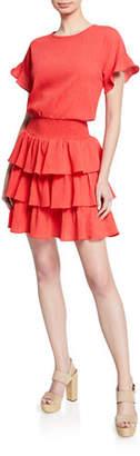 MICHAEL Michael Kors Pucker Tiered Smocked T-Shirt Dress