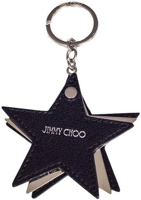 Jimmy Choo Key Chain Star-shaped Leather And Metal Keychain With Logo
