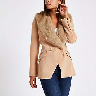 River Island Womens Beige faux fur trim double breasted jacket