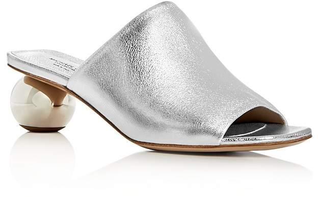 Michael Kors Women's Maxie Leather Mid Heel Slide Sandals