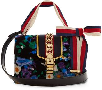 Gucci Sylvie floral-print velvet shoulder bag