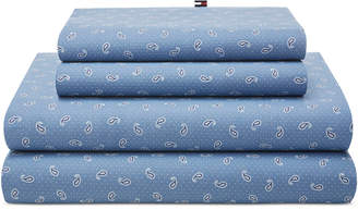 Tommy Hilfiger Closeout! Tossed Paisley Blue Twin Sheet Set Bedding