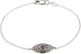 Ileana Makri 18K White Gold Wisdom Bracelet with Diamonds and Sapphires