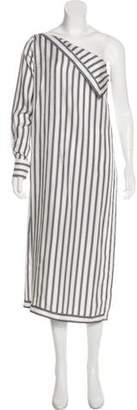Monse Silk One-Shoulder Midi Dress