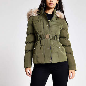 River Island Khaki faux fur hood quilted jacket