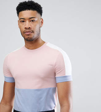 Asos DESIGN Tall muscle fit longline t-shirt with pastel color block