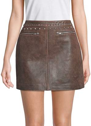 Veda Women's Buzz Studded Leather Mini Skirt