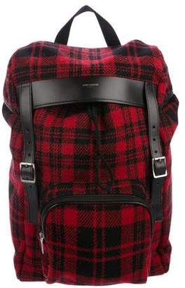 Saint Laurent Plaid Wool Rucksack