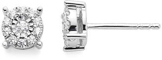 FINE JEWELRY Diamond Blossom 1/5 CT. T.W. Diamond Miracle Plate 10K White Gold Studs