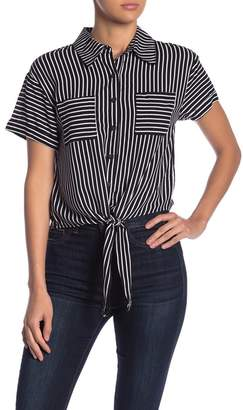 Ten Sixty Sherman Striped Tie Hem Button Down Shirt