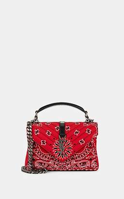 Saint Laurent Women's Monogram College Medium Leather-Trimmed Shoulder Bag - Red