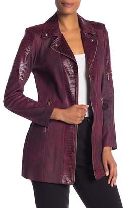 Insight Faux Alligator Embossed Trim Faux Suede Jacket