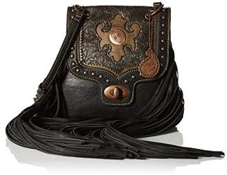 American West Bandana by Winslow Crossbody Bag Black Faux Leather Fringe