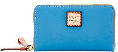 Dooney & Bourke Pebble Grain Zip Around Phone Wristlet - AZURE - STYLE