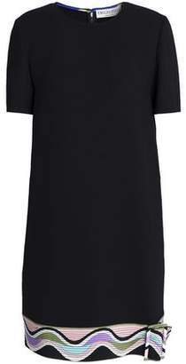 Emilio Pucci Printed-Trimmed Wool-Blend Crepe Mini Dress