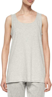 Joan Vass Scoop-Neck Cotton Interlock Tunic/Tank, Gray Heather, Plus Size