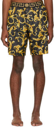 Versace Underwear Black and Yellow Brocade Swim Shorts