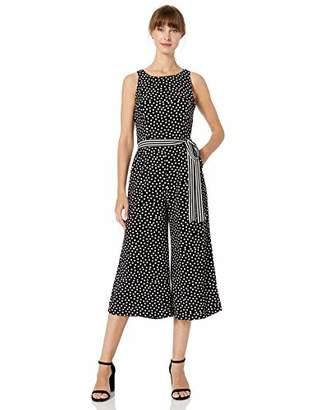 Gabby Skye Women's Polka Dot Belted Jumpsuit