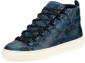 Balenciaga Men's Arena Python-Embossed Leather High-Top Sneaker $665 thestylecure.com