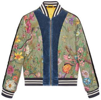 Gucci Flora Snake print silk bomber jacket