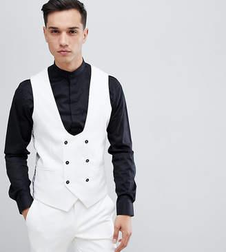 Noose & Monkey Tall super skinny waistcoat in white