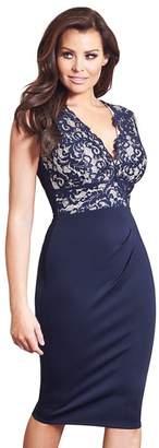 Jessica Wright Sistaglam Love Jessica - Navy 'Lorena' Lace Midi Bodycon Dress