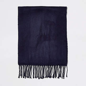 River Island Mens Navy woven embroiderd scarf