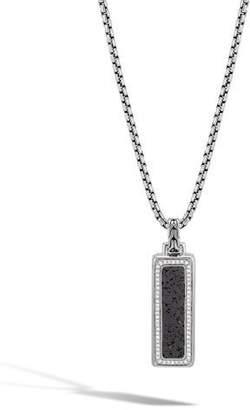 "John Hardy Men's Classic Chain Volcanic Diamond Silver Box Chain Pendant Necklace, 26""L"
