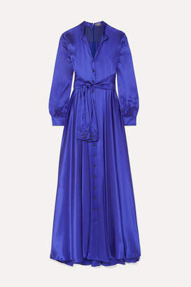 Alexis Mabille Tie-detailed Silk-satin Gown - Royal blue