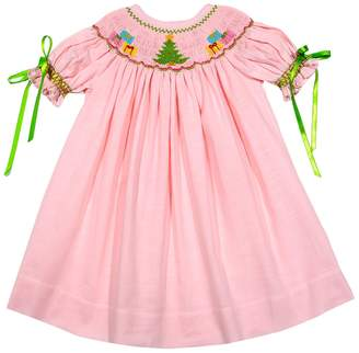 Classy Couture Smocked Embroidered Holiday Dress
