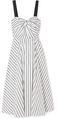 Jason Wu Grosgrain-trimmed Striped Cotton-poplin Dress - Ivory