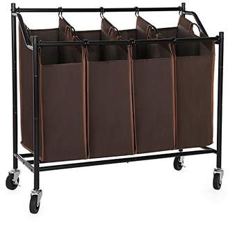 Laundry by Shelli Segal SONGMICS 4-Bag Rolling Sorter Cart Heavy-Duty Sorting Hamper W' Brake Casters Brown URLS90Z