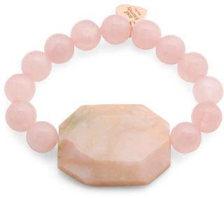 Made In Usa Rose Quartz And Peruvian Opal Bracelet