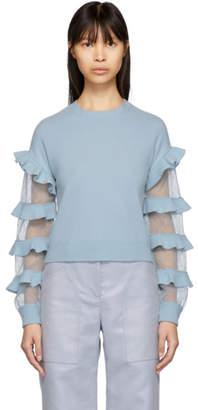 RED Valentino Blue Ruffle Sweater