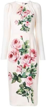 Dolce & Gabbana ruched rose-print midi dress