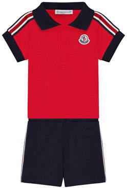 Moncler Polo Shirt & Shorts Set, Size 3-24 Month