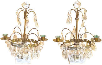 One Kings Lane Vintage Antique Crystal & Brass Girandoles - Set of 2 - Vermilion Designs