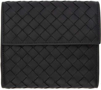 Bottega Veneta Black Intrecciato Mini Trifold Wallet