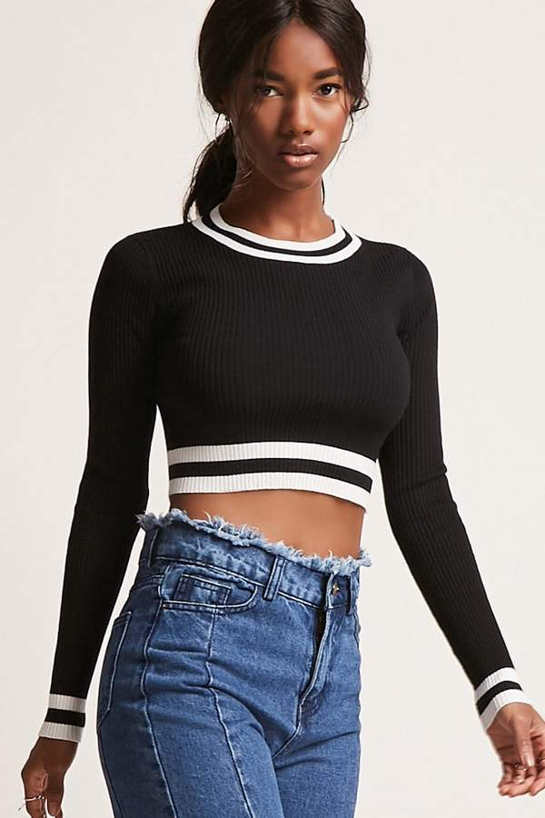 FOREVER 21 Contrast Stripe Cropped Sweater