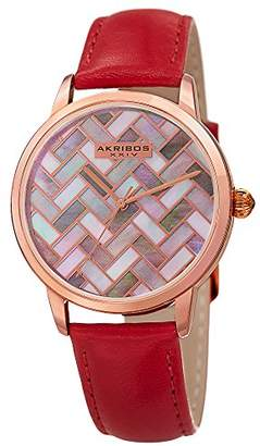 Akribos XXIV AK906 Women's Mother-of-Pearl Mosaic Dial with Glove Style Genuine Leather Strap Watch ()
