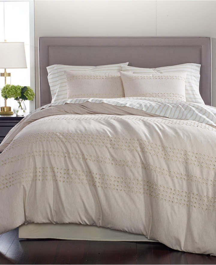 Martha Stewart Collection Eyelet Stripe 8-Pc. California King Comforter Set, Created for Macy's Bedding