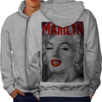 Monroe Wellcoda Marilyn Retro Mens Hoodie, Urban Beach Printed on the Back Side 2XL