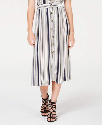 BCX Juniors' Striped Button-Trimmed Skirt