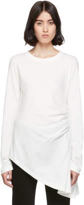 MM6 MAISON MARGIELA White Ruched Long Sleeve T-Shirt