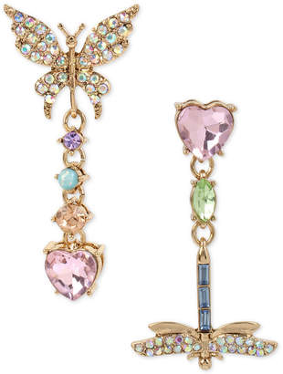 Betsey Johnson Gold-Tone Multi-Stone Butterfly & Dragonfly Mismatch Drop Earrings